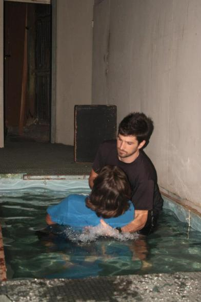 Matt being baptized by John at GGP Spring 2013